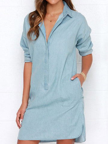 Summer Vibe Long Sleeved Denim Dress