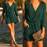Green V-Neck Waist Tie Dress