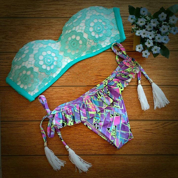 Floral Support Mint Blue Lace Bikini Sets