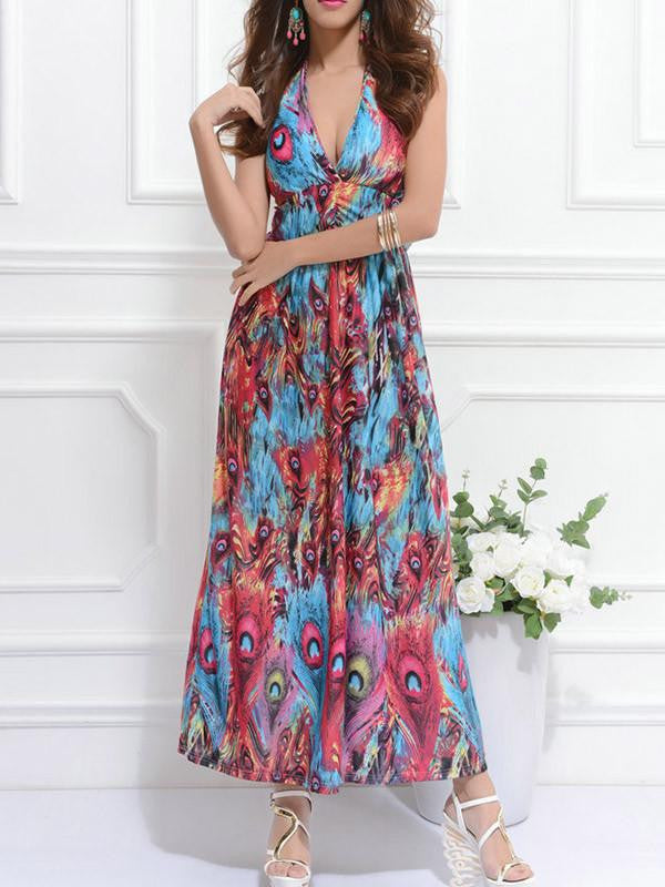 Bohemian Peacock Print Sleeveless Maxi Dress