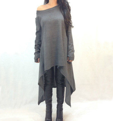Asymmetric Hem and One Shoulder Longline Sweatshirt - FIREVOGUE