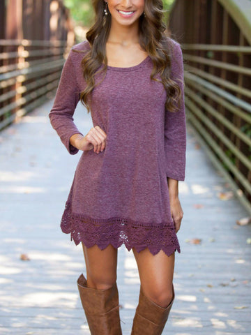 A Love Like That Mini Dress With Lace Hem - FIREVOGUE
