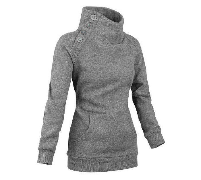 Side Button Casual Sweatshirt - FIREVOGUE
