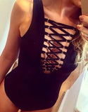 Black Macrame Front Sexy Swimsuit - FIREVOGUE