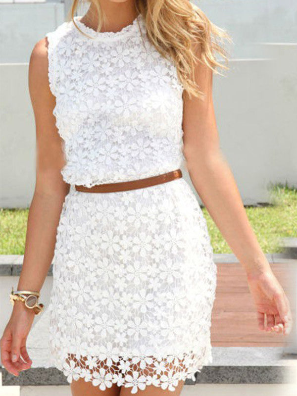 Cute Lace Sleeveless Tight Dress - WealFeel