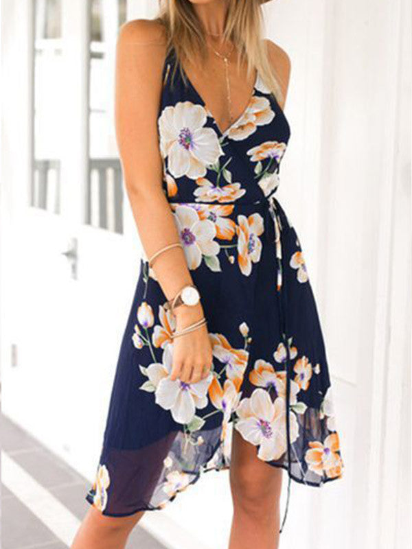 Sexy Floral Backless Cross Slit Front Dress - WealFeel
