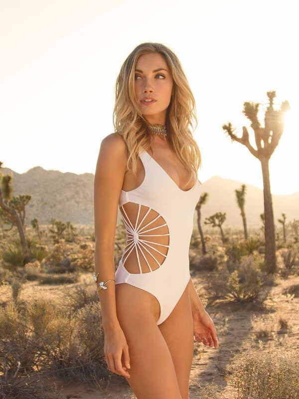 Cute Factor Pure White One-piece Swimsuit - FIREVOGUE