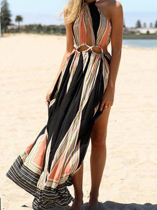 Sexy Hallow Bohemia floral Slit Beach Dress - WealFeel