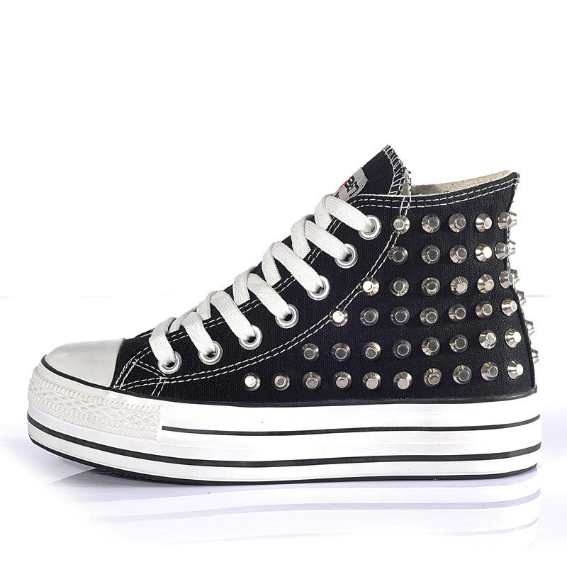 Studded Canvas Sneaker - FIREVOGUE