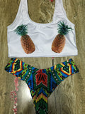 Cute Pineapple Print Tank Bikini Sets - WealFeel