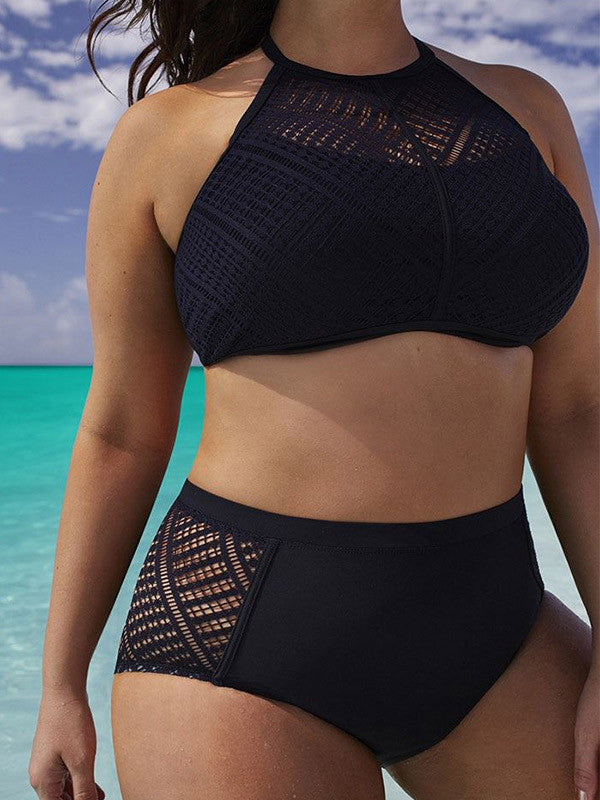 Black Plus Size Backless High Waist Bikini Sets - WealFeel