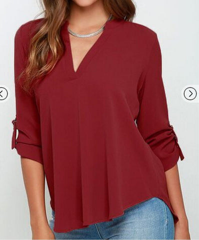V My Girl Chiffon Blouse - FIREVOGUE