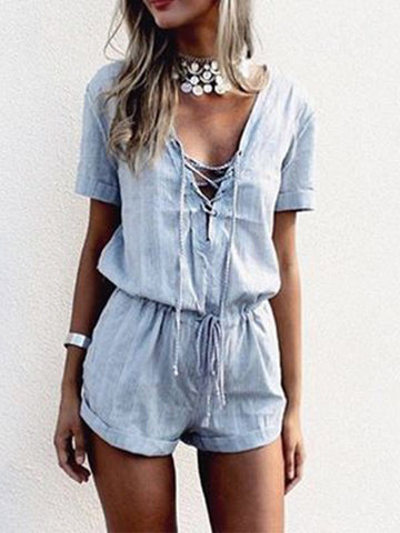 Not Just a Pretty Lace-Up Romper