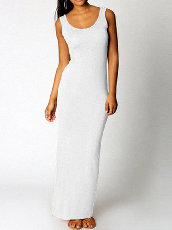 Solid Color Sleeveless Casual Maxi Dress - WealFeel