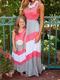 Parent-child Mixed Color Dress