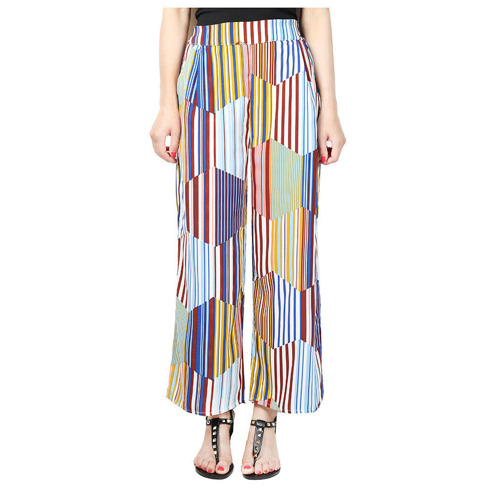 Line Of Love Multi Color Stripe Loose Pants - FIREVOGUE