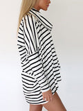Oversize Cowl Neck Top in Stripe Print