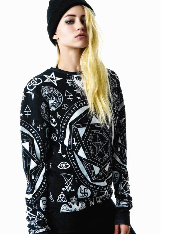 Black Unique Print Casual Sweatshirt - FIREVOGUE