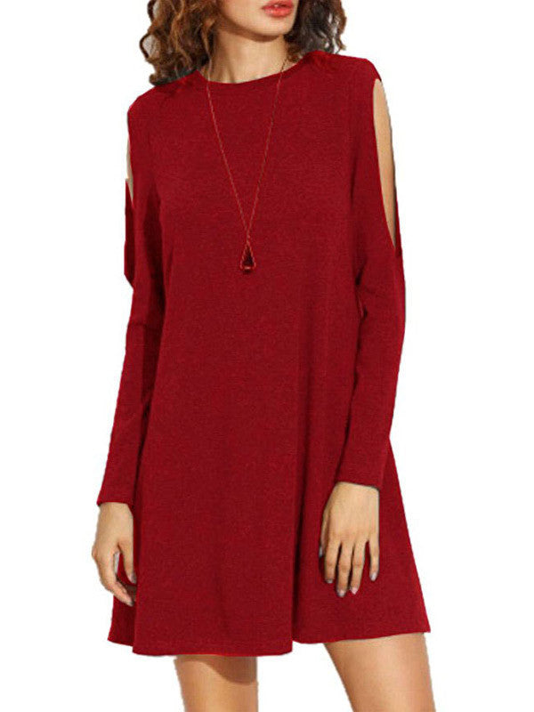 Pure Color Hollow Sleeves Basic Dress - FIREVOGUE