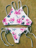 Flowers In Sea Halter Bikini Sets - FIREVOGUE