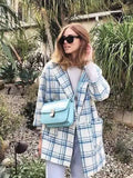 Fresh Color Plaid Wool Coat - FIREVOGUE