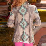 European and American Big Swing Asymmetrical Geometric Pattern Knit Cardigan Sweater - FIREVOGUE