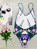 (clearance)Queen 4 a Day Printed Swimsuit - FIREVOGUE