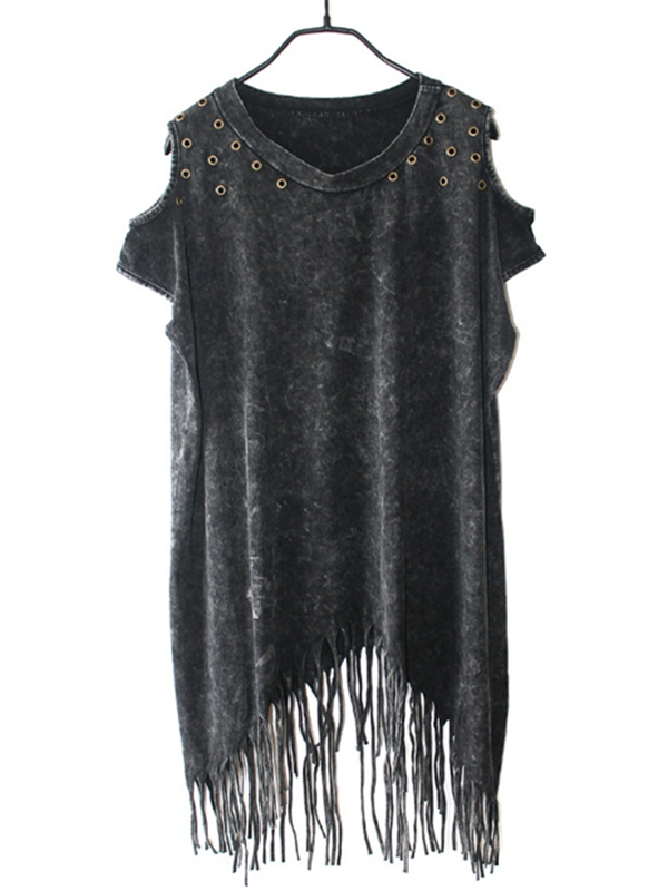 Black Grey Sleeveless Tassel Dress - WealFeel