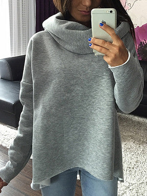 Roll Neck and Asymmetric Hem Sweatshirt
