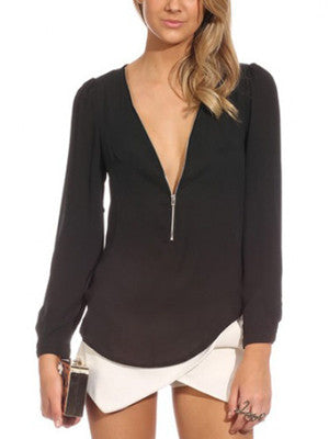 Zip Front and V Neck Chiffon Top