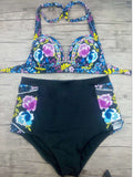 Vintage Floral Print High-Wasited Bikini Sets - FIREVOGUE