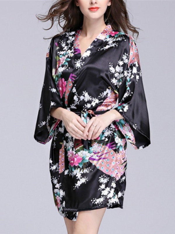 Women's Medium Sleeve Peacock Printed Kimono Robe