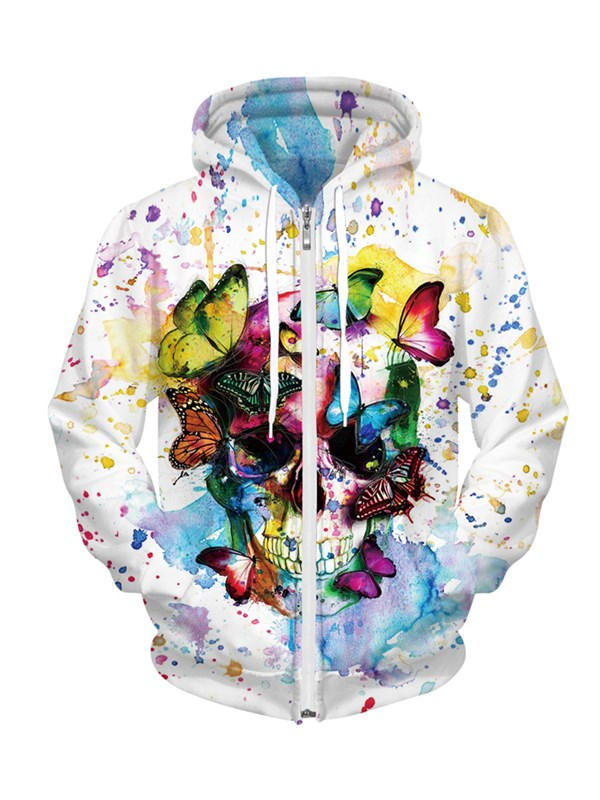 Butterfly Flutters Lightly Colored Skull Couples Hoodie
