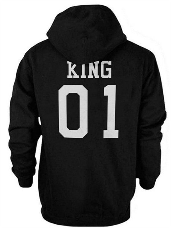 Be Your King Or Queen Couple Matching Letter Printed Hooded Sweatshirt - WealFeel