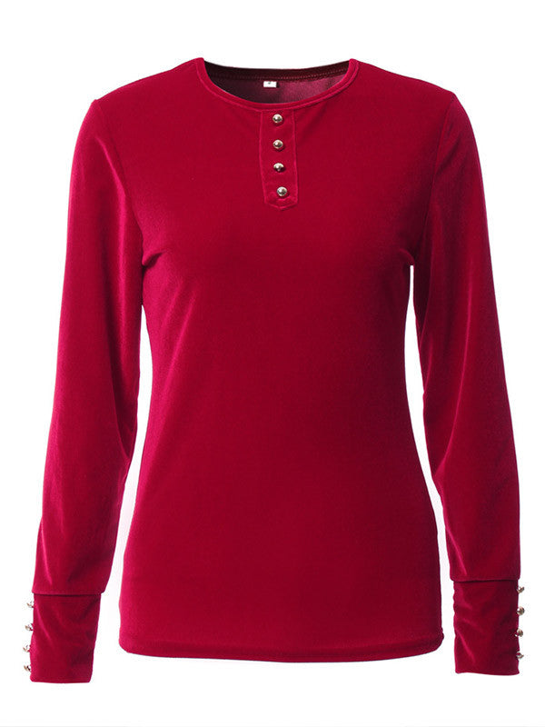 Velvet Button Round Neck Shirt - FIREVOGUE