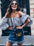 Striped Off-the-shoulder Top With Neckband - WealFeel