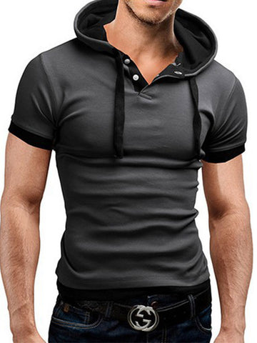 Men's Mixed Color Short Sleeve Hooded Shirt