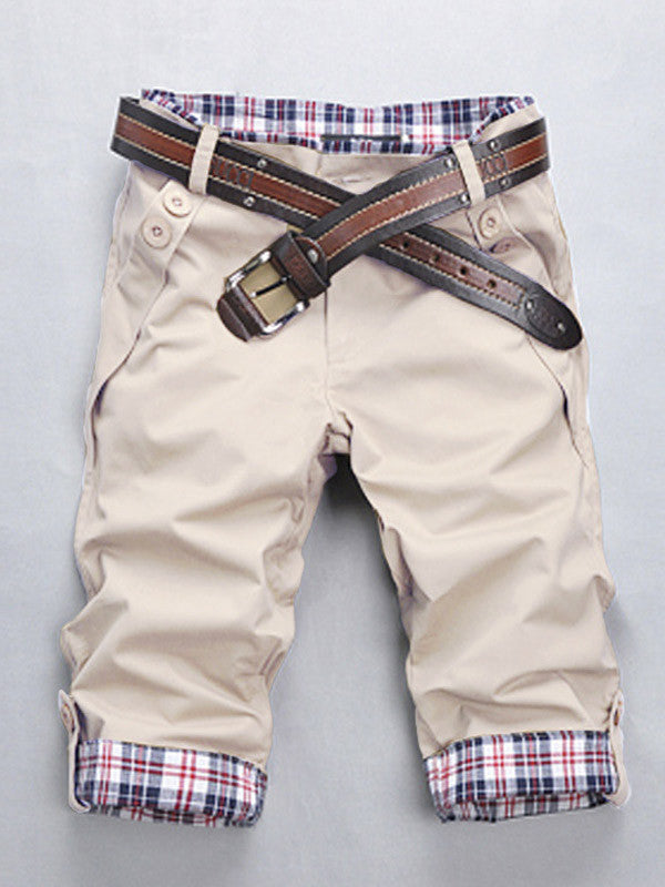 Men's Casual Plaid Capri Pants