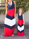 Blue/Red Stripes Classy Maxi Dress Mommy and Daughter Dress - WealFeel