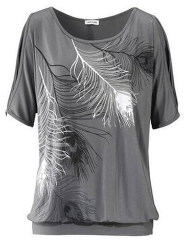 Loose Short Sleeved Feather Printed Casual Shirt