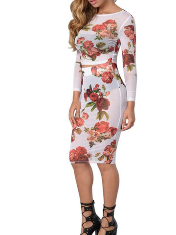 Sexy Women's Floral Bodycon Dress