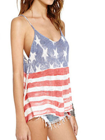 Fashion USA Flag Printed V-neck backless Top - WealFeel