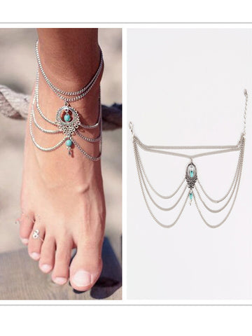 Bohemian Style Turquoise Anklets