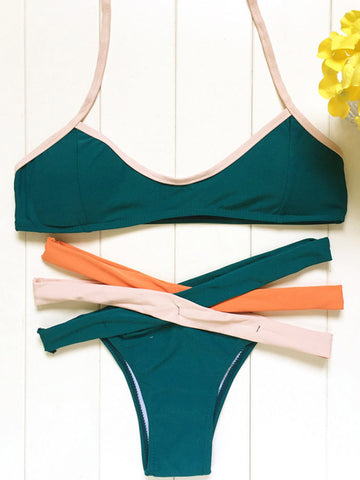 Crossed Out Halter Bikini Sets