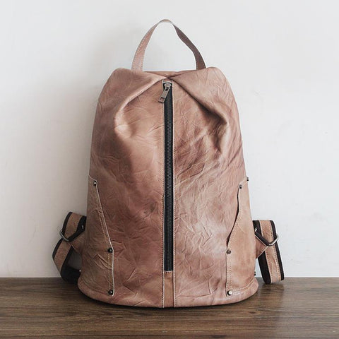 Leather Retro Rucksack Backpack College Bag,School Picnic Bag Travel