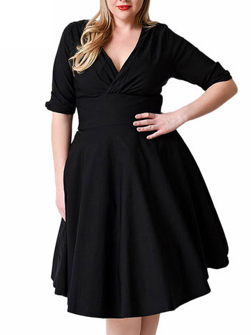 Plus Size V Neck Wrap Dress