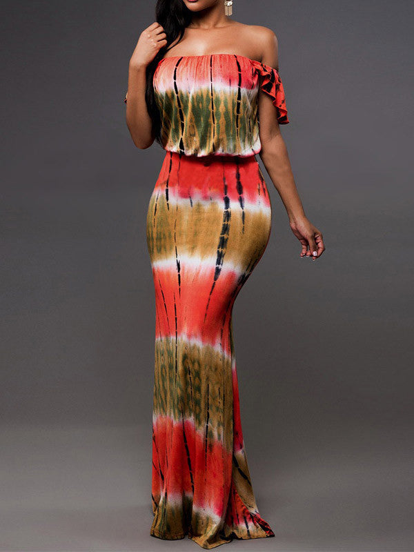 Bohemia Printing Off Shoulder Bodycon Beach Maxi Dress - WealFeel