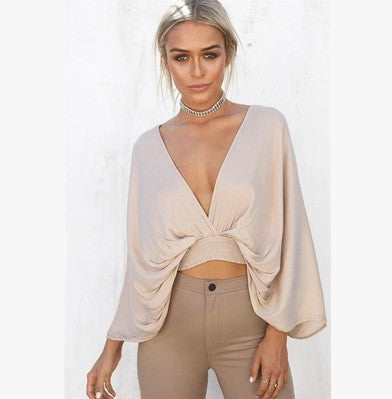 Sleeve It to Me Plunging Top - FIREVOGUE