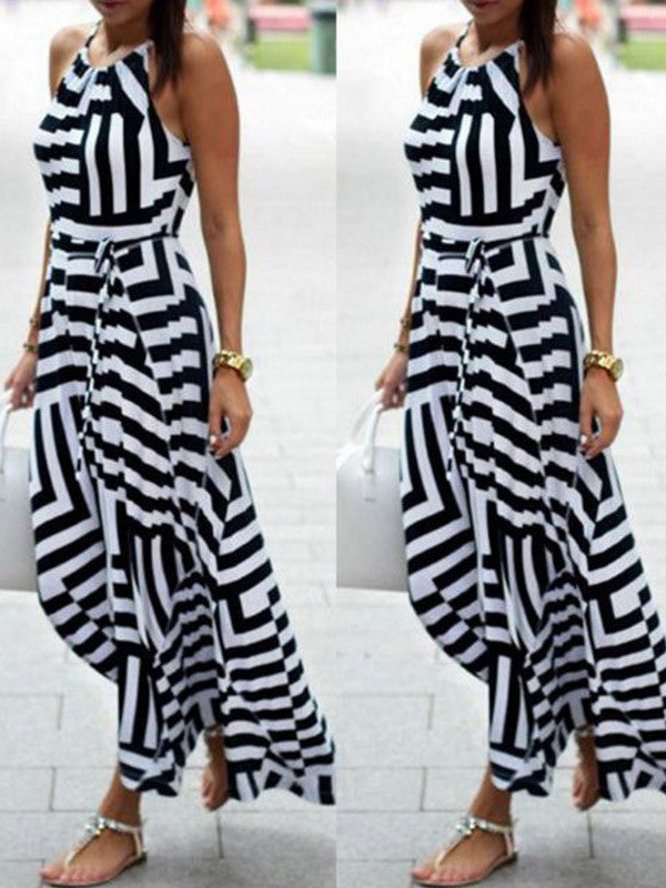 Halter At Me Striped Maxi Dress