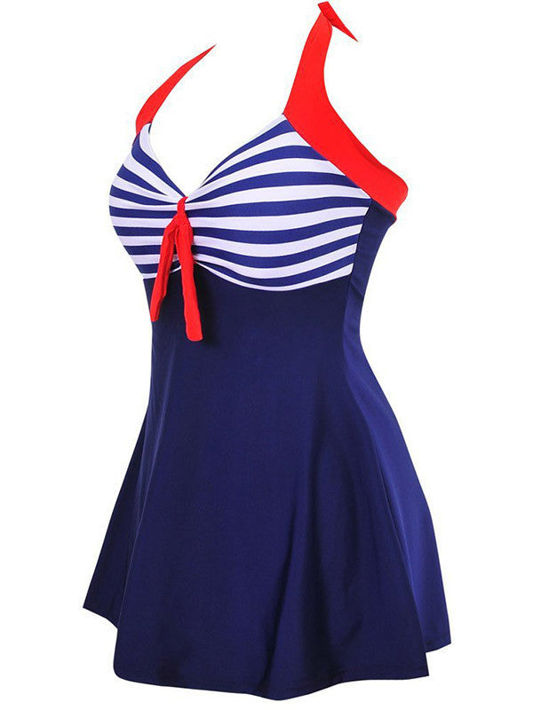 Plus Size Stripe One Piece Swimwear Dress